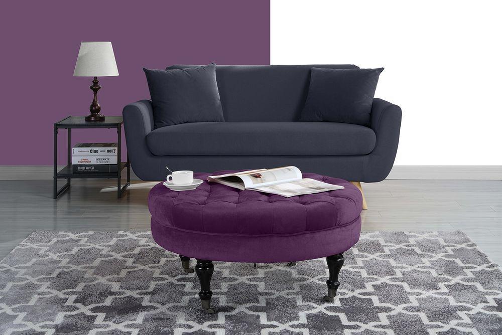 Tufted Velvet Coffee Table Ottoman Pouf Furniture Casters Wheels Beauteous Pouf On Wheels