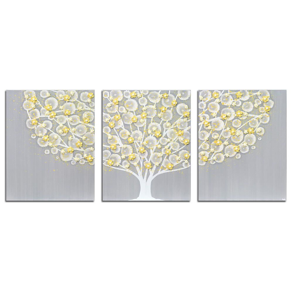 Large canvas wall art triptych original painting of