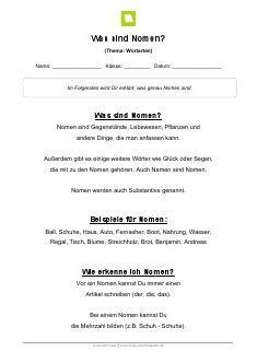 Arbeitsblatt: Was sind Nomen? | cooles | Pinterest | Homeschool