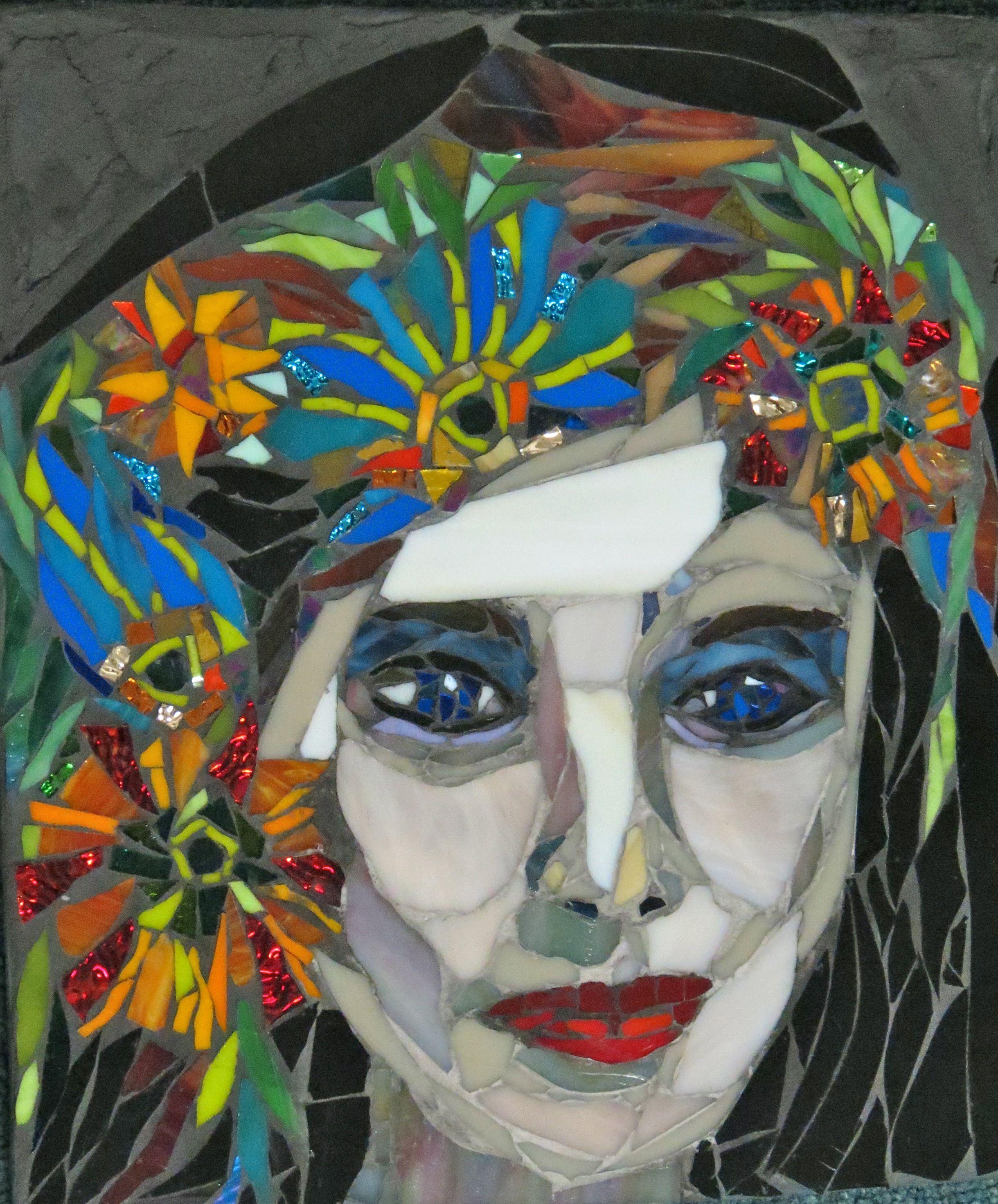 Mosaic Art By Kat Gottke Flower Girls Mosaic Portrait Mosaic Wall Art Mosaic Art