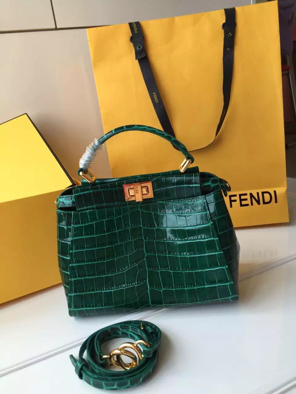 0d904c846345 Fendi Calfskin Crocodile Pattern Mini Peekaboo Bag Deep Green ...