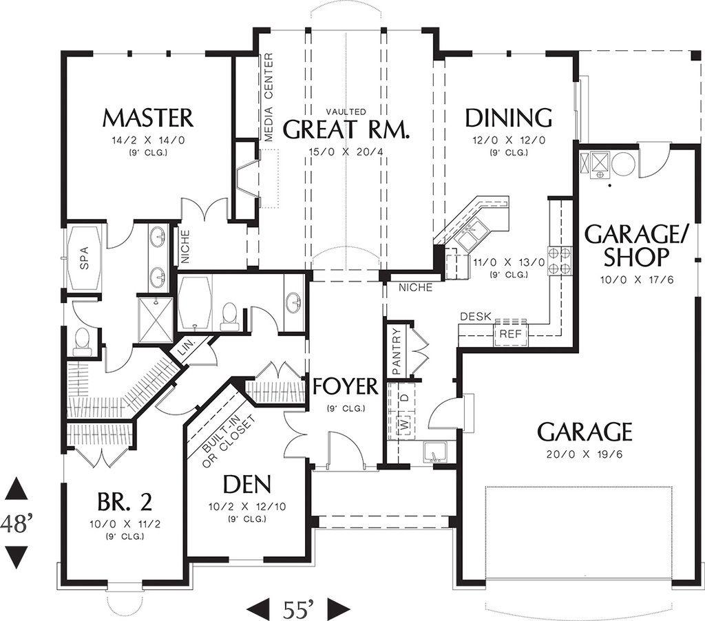Craftsman Style House Plan   2 Beds 2 Baths 1728 Sq/Ft Plan #48