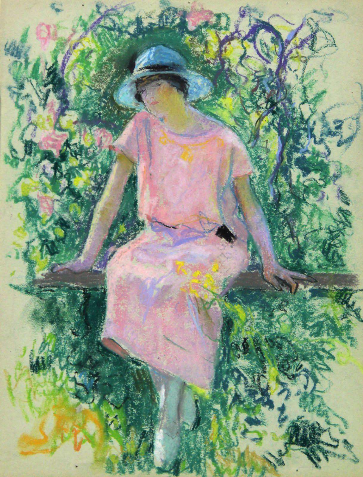 Rose amongst the roses - Raymond Thibesart French, 1874-1968 Pastel on paper , 32 x 24 cm