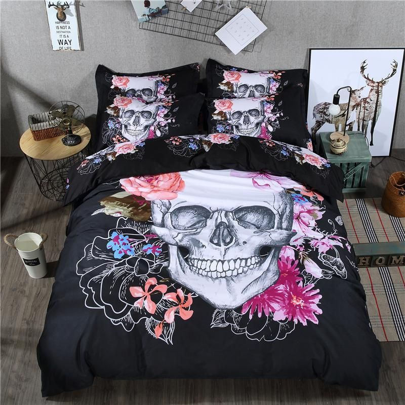 4 Pieces Corpse Bride Skull Bed Sheet Set With Purple Flowers