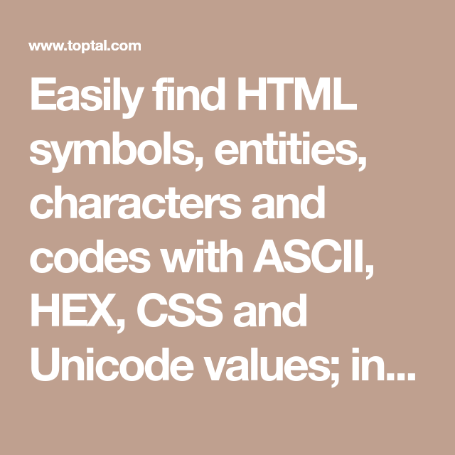 Easily Find Html Symbols Entities Characters And Codes With Ascii