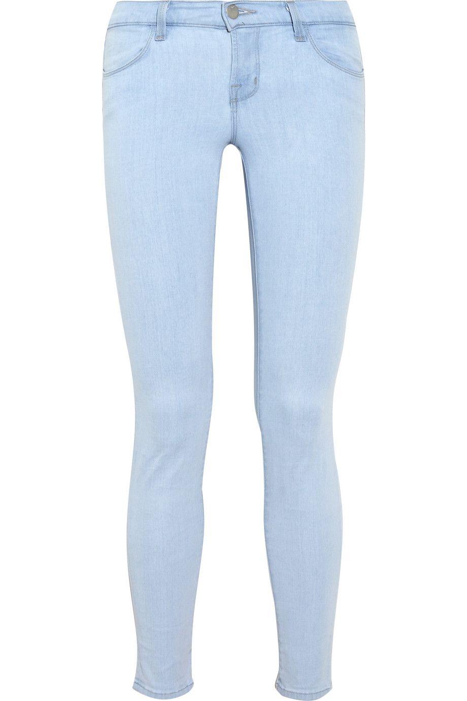 J Brand Denim - 620 Power Stretch light-blue low-rise skinny jeans