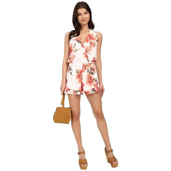 Show Me Your Mumu Riri Romper (Romuntic Rose) ($136) ❤ liked on Polyvore featuring jumpsuits, rompers, v neck romper, wrap romper, floral rompers, white floral romper and flower print romper