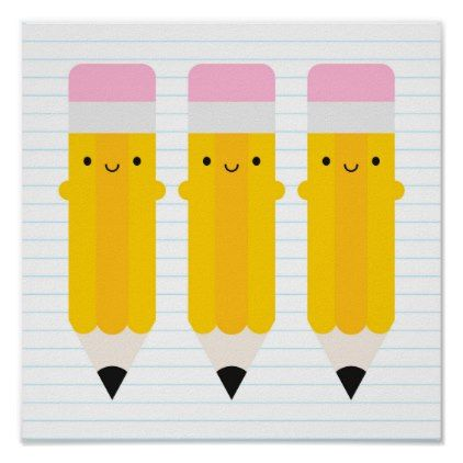 Happy Kawaii Pencils Poster
