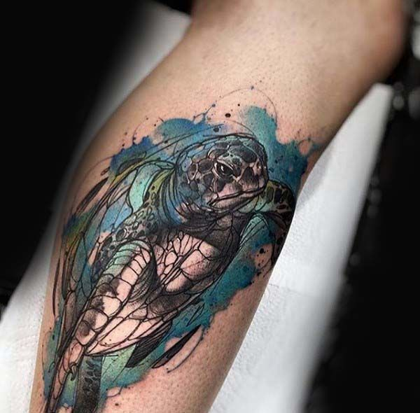 Amazing Turtle Watercolor Tattoo On Mans Leg Calf Turtle Tattoo Designs Turtle Tattoo Sea Turtle Tattoo