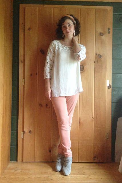 cb262fa1cbf Bread and Roses Vintage  Mood Enhancer  White lace top + peach ...
