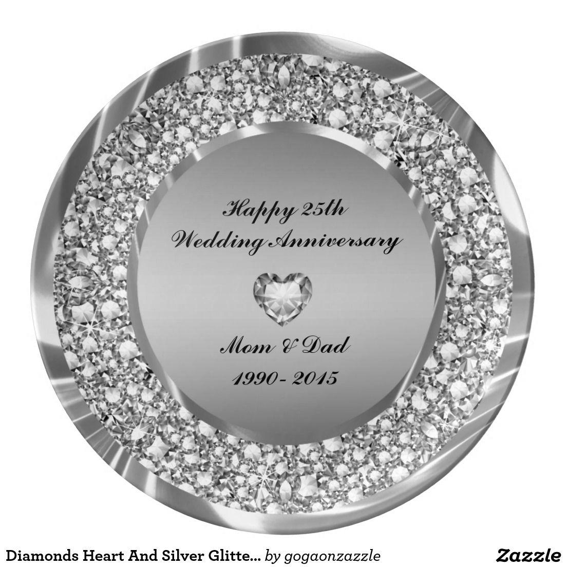 diamonds heart and silver glitter 25th anniversary dinner plate