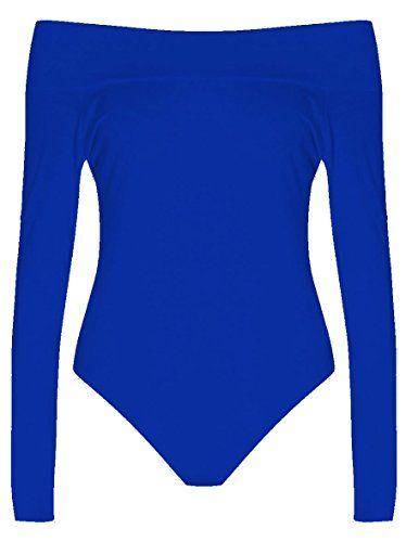 76f371ae5af Womens Plus Size Long Sleeves Off Shoulder Plain Viscose Jersey Bodysuit  (SM   (6