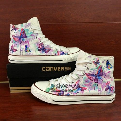 b033229142de09 Womens Converse Shoes Hand Painted Colorful Butterfly Canvas Sneakers