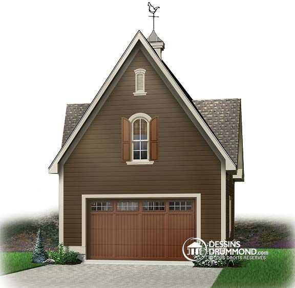 Affordable Garage Apartment 2236sl: Images Du Plan De Garage W2984 - Vue Avant