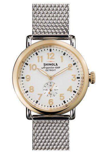 Shinola 'The Runwell' Mesh Band Watch, 41mm | Nordstrom