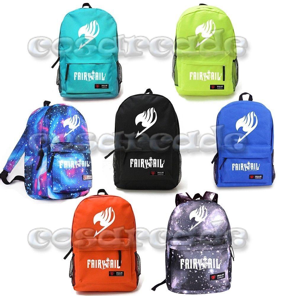 6b4224e0e4a Fairy Tail Guild Logo Fluorescent School Bag Backpack Natsu Cosplay  Schoolbag+7