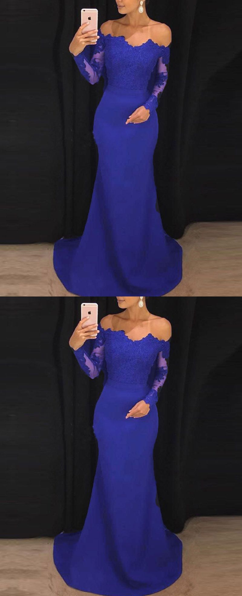 Elegant fitted long sleeves evening gown lace appliqued navy prom