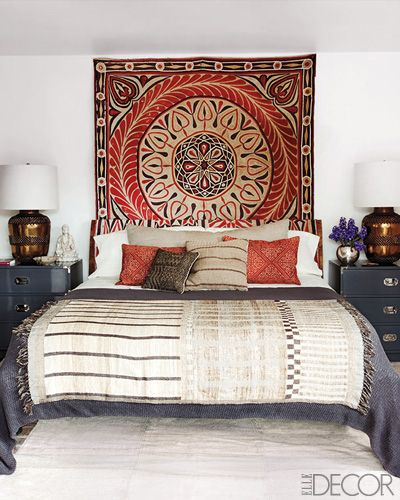 Bohemian Bedroom Ideas A Boho Rug On The Wall Creates Headboard Look And Adds Great Pop Of Color Interest
