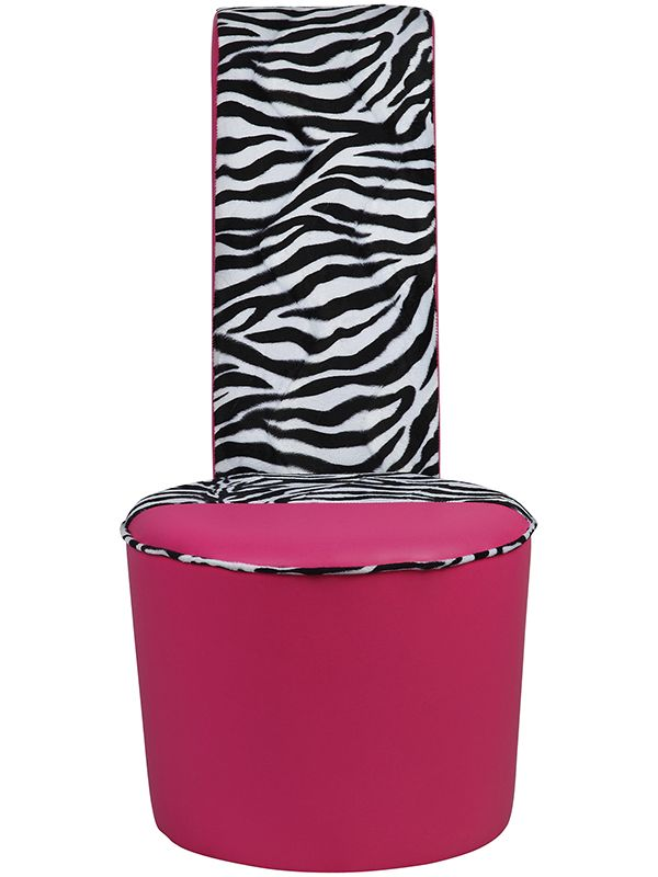 Exceptional Mini Kids Diamante Shoe Chair + Hot Pink Big Zebra Heel Shoe