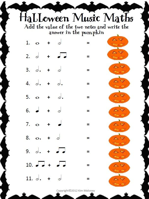 HALLOWEEN Music Rhythm: Music Math for Halloween Music Lessons ...