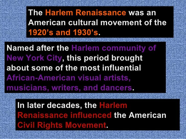 harlem renaissance 6 essay Harlem renaissance the harlem renaissance was a significant event in the history of the united states of america the harlem renaissance centered on the culture of african-americans and took place at the end of the american civil war in 1865.