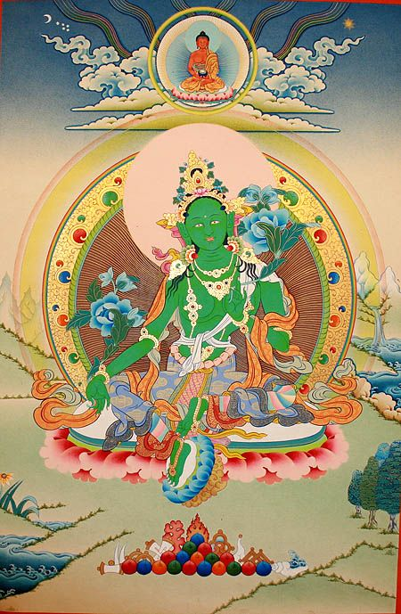 Green Tara Thangka Painting 綠度母.....^^