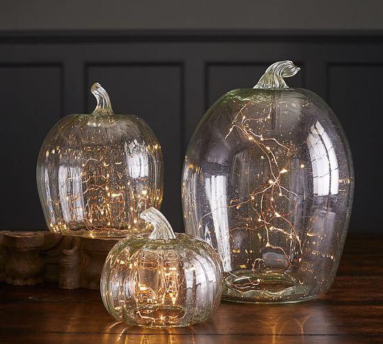 Recycled Glass Pumpkin Cloche Pottery Barn Fall Decor Pottery