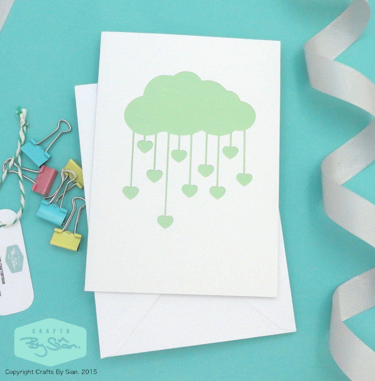 Love Heart Rain Cloud Papercut Greeting Card White And Green By