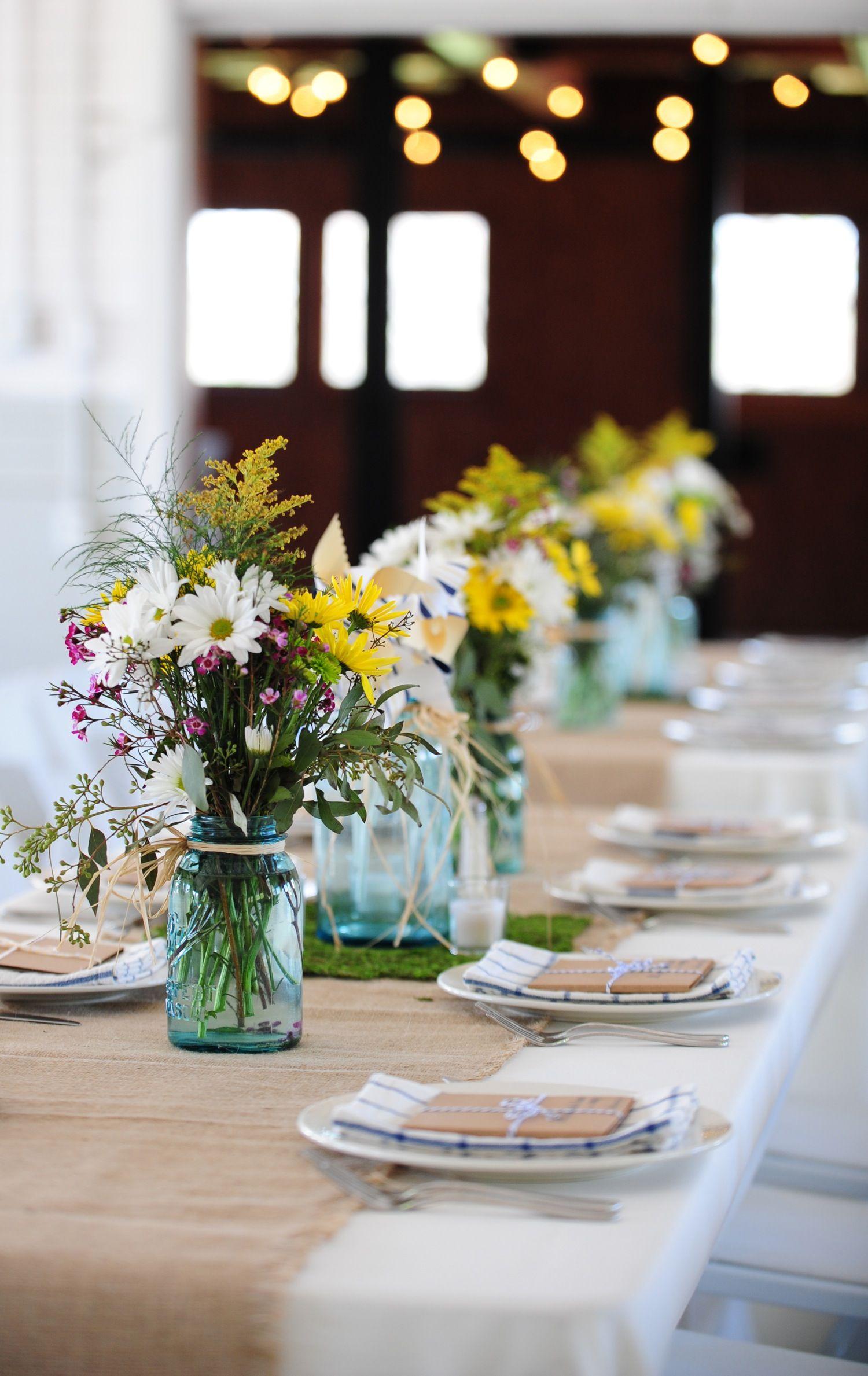 Rustic Wedding Centerpieces Mason Jars | ... wedding reception with  wildflower centerpieces in mason jars | OneWed