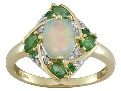 50ct Ethiopian Opal With 29ctw Emerald And 03ctw White Diamond Accents 10k Yellow Gold Ring Opal Jewelry Beautiful Jewelry Jewelry