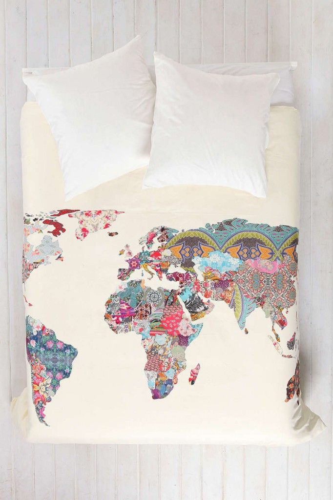 Repurposed and reimagined map decor on the interior project home bianca green for deny louis armstrong told us so duvet cover urban outfitters world map gumiabroncs Image collections