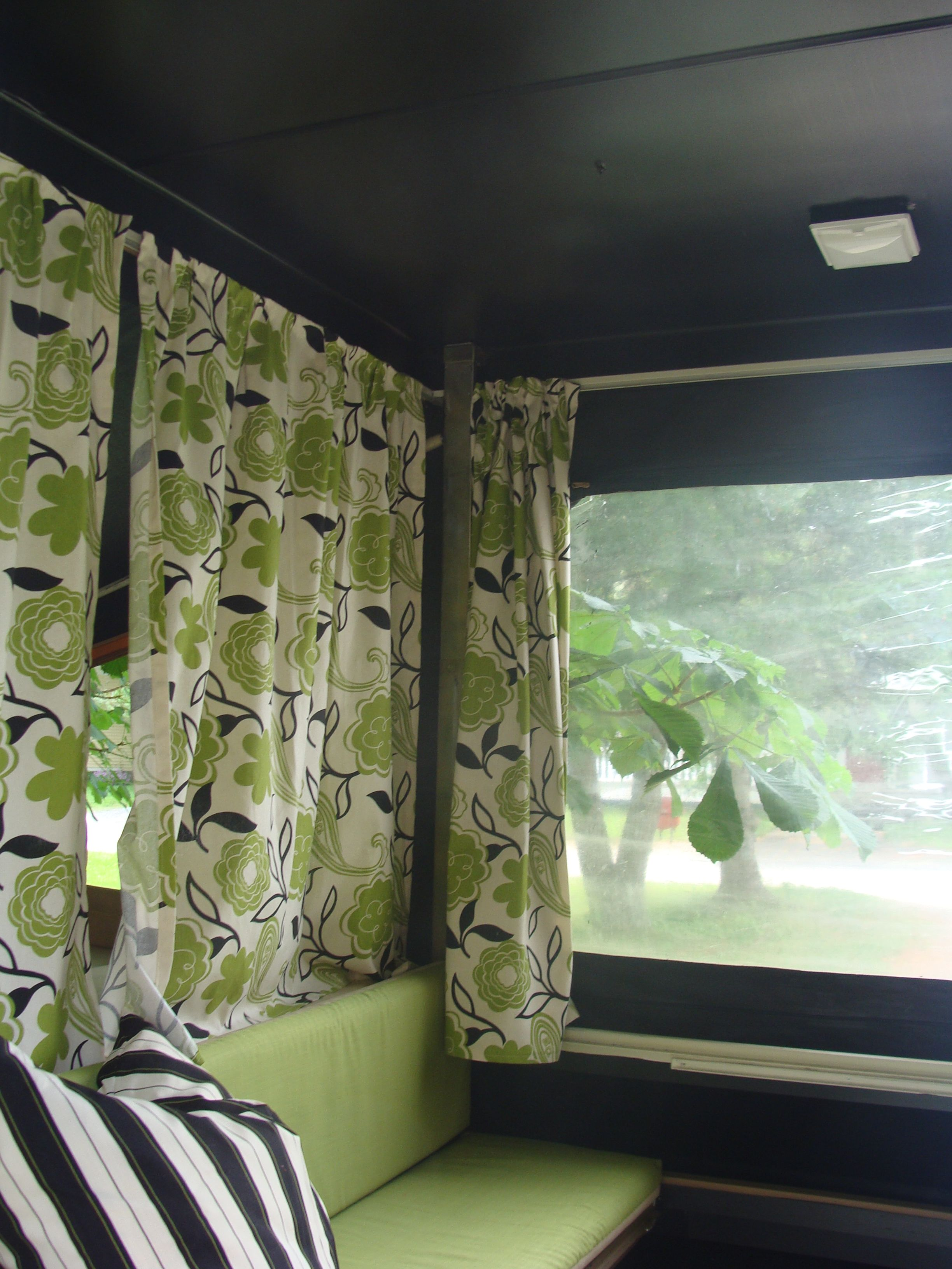 Pop Up Trailer Love The Green Vintage Flower Curtains