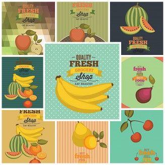Vegetables Fruits Shop Templates Vector