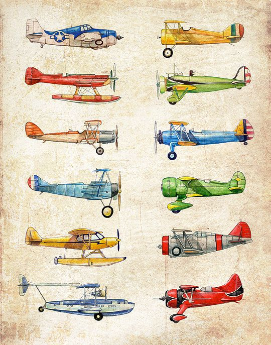 Vintage Airplane Collection Antiqued Watercolor Print