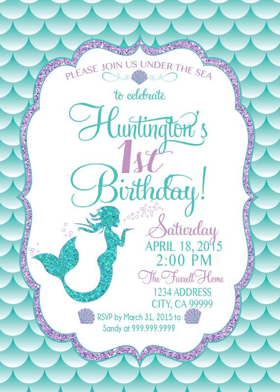 Mermaid Invitation Birthday Party Invite Under The Sea Glitter