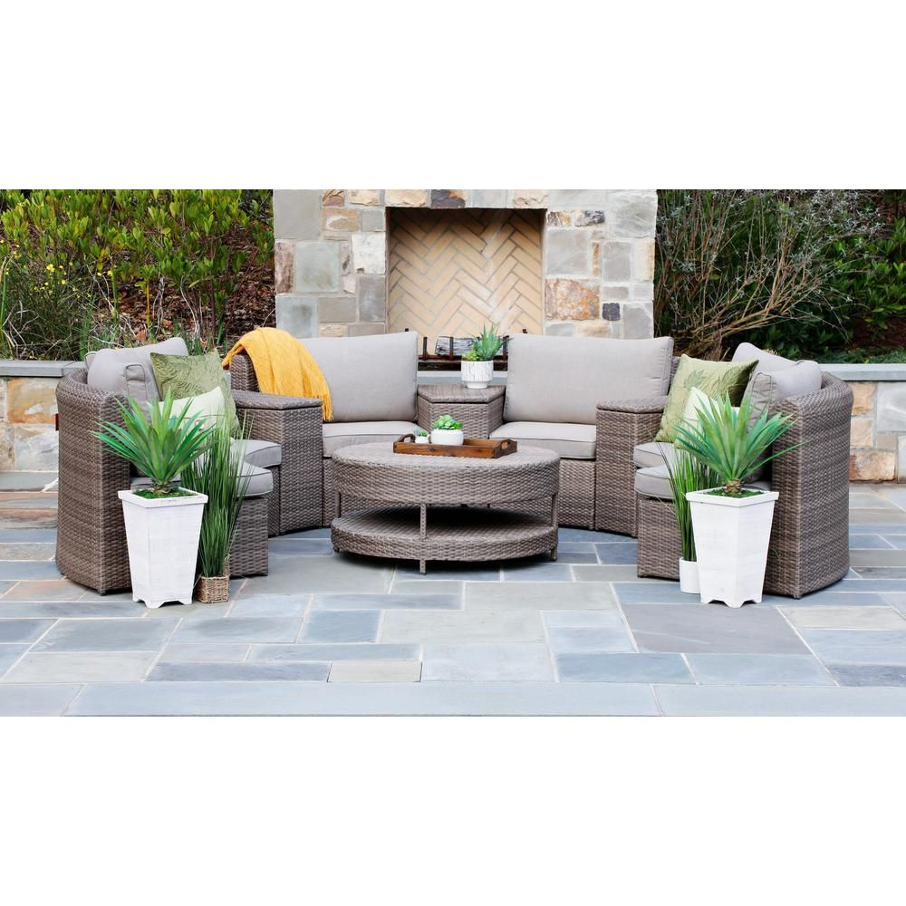 Canopy Cyprus 8 Piece Resin Wicker Outdoor Sectional With Sunbrella Cast Shale Cushions Sec1400cyp The Home Depot Wicker Outdoor Sectional Patio Furniture Deals Outdoor Seating Set