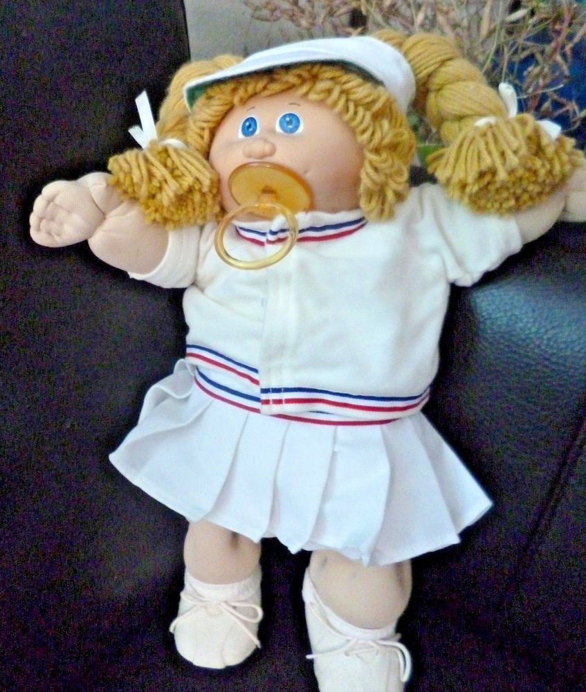 2ca421784df6b Details about Vintage Cabbage Patch Doll Brown Hair Girl Blue Sign ...