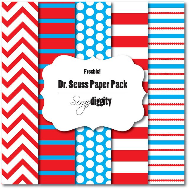 Scrapdiggity: FREEBIE: Dr. Seuss Paper Pack