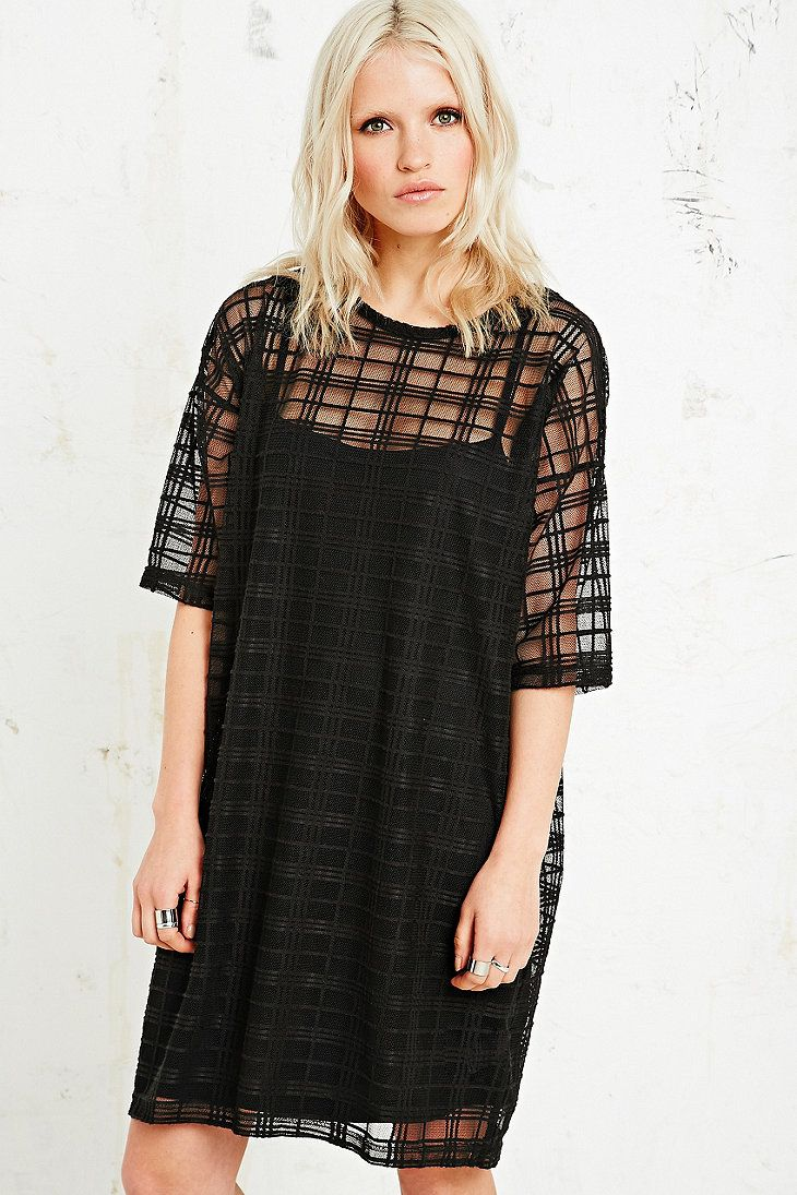 Sparkle & Fade Tartan Mesh Dress in Black | Urban Outfitters UK ...