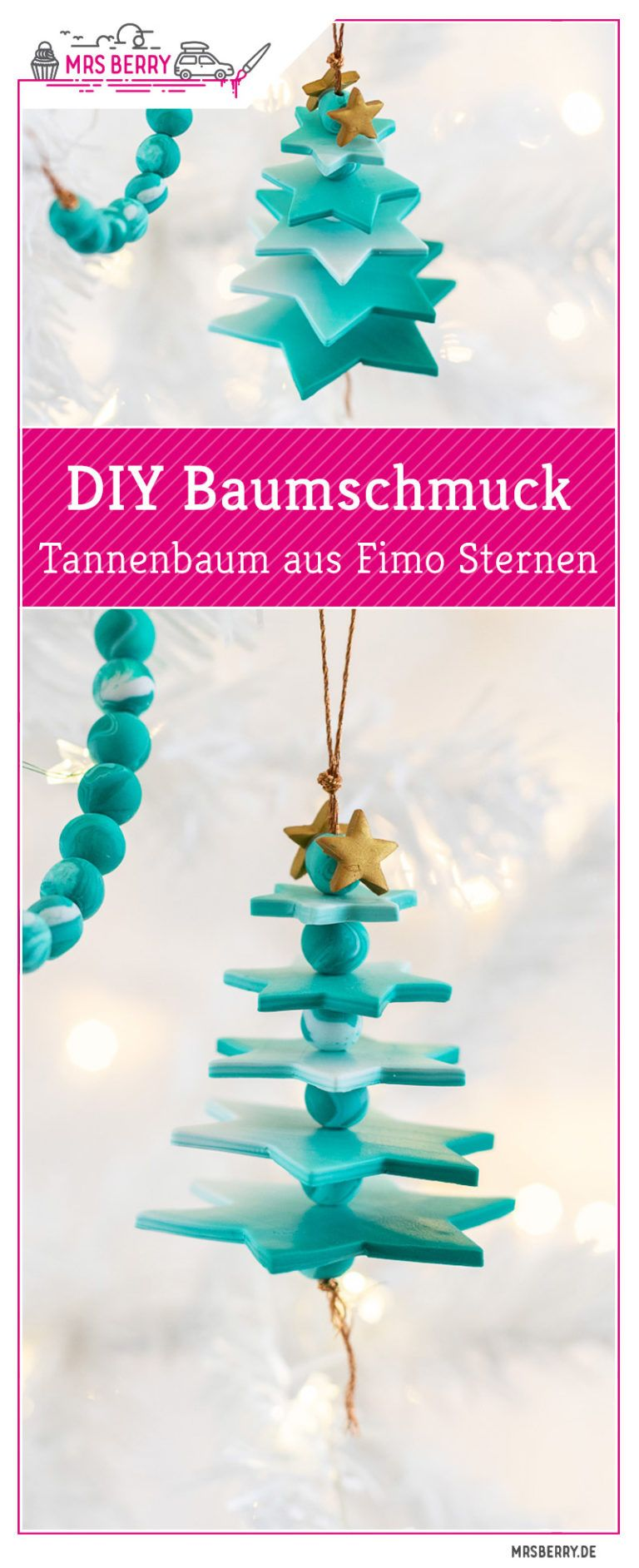 DIY Baumschmuck: Tannenbaum aus Fimo Sternen | MrsBerry.de