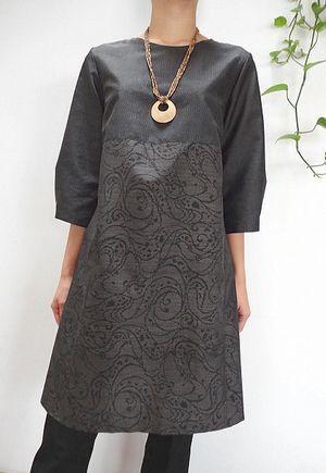 大島紬の切り替えワンピース 毎日ちくちく 着物リメイク 楓 minimal dress fashion kimono dress