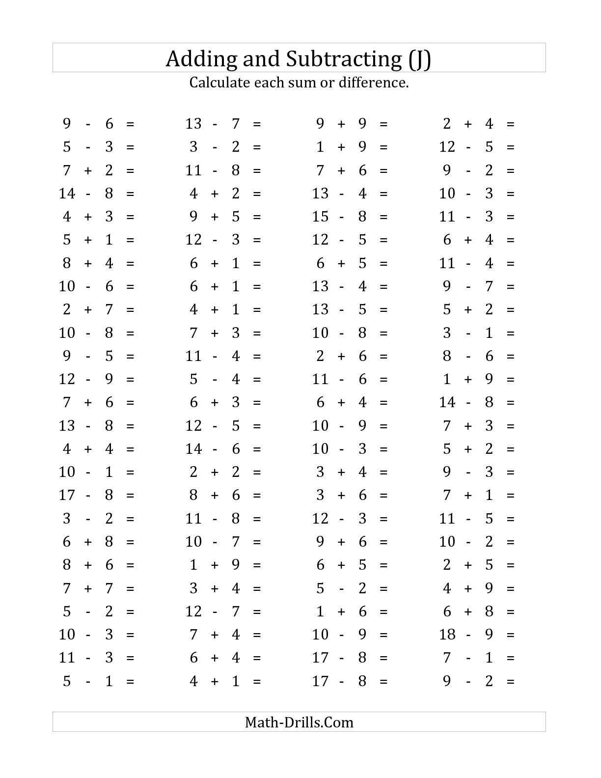 The 100 Horizontal Addition Subtraction Questions Facts 1 To 9 J Math Worksheet From The
