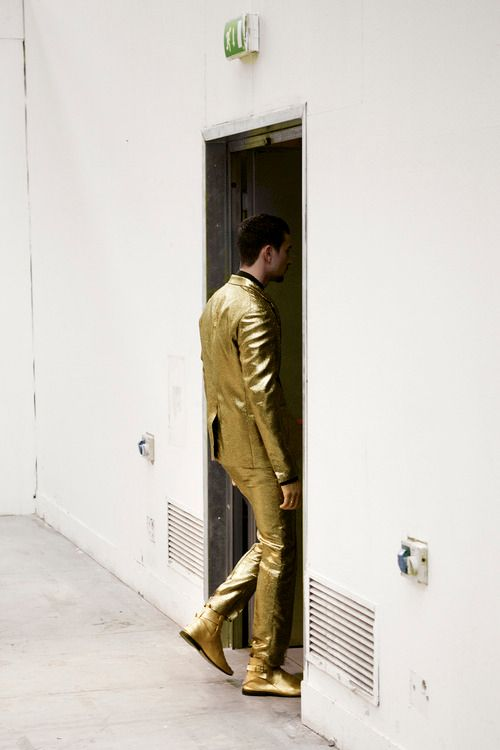 """Men's gold suit. In 1959 Elvis wore a gold suit on the cover of """"50,000,000 Fans Can't Be Wrong"""" album"""