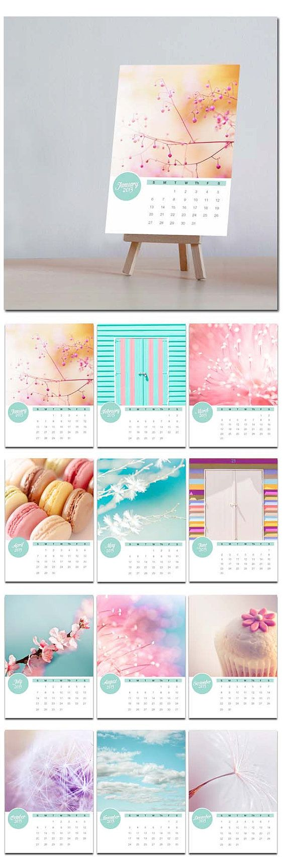 2013 photo calendar  pastels 5x7 mini desk calendar with macarons by mylittlepixels