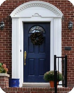 Michelle Summers Navy Blue Front Door With Red Brick Love The Navy Probably A Shade Or Two Darker Front Door Design Front Door Colors Door Color