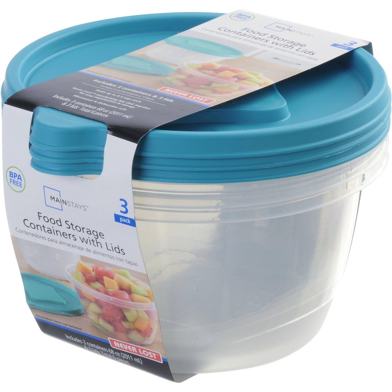 Mainstays Never Lost 3 Piece Round Plastic Food Storage Set Blue