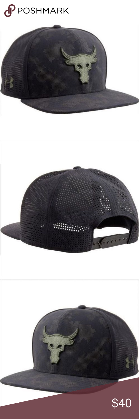 71dad11e Herren-Accessoires Under Armour UA x Project Rock Mesh Back SuperVent Mens  Snapback Cap Flat Hat