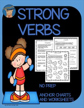 strong verbs my products teaching language arts verb worksheets writing lessons. Black Bedroom Furniture Sets. Home Design Ideas