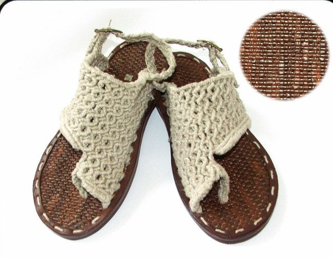 Hand made Linen Macrame Sandals by Cynamonn~Etsy | Summer projects ...