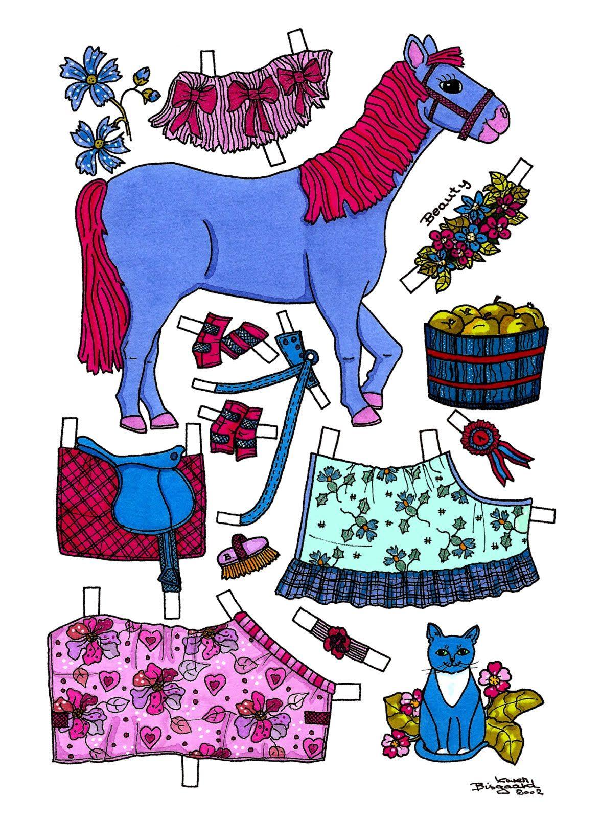 Karen`s Paper Dolls: Beauty, Paper Doll Horse to print in Colours. Beauty, påklædningsdukke hest til at printe i farver.